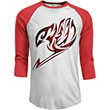 Motisure Fairy Tail Emblem Men's 3/4 Sleeve Raglan Baseball T Shirt Red