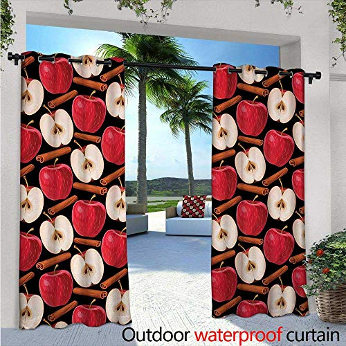 BlountDecor Apple Indoor/Outdoor Single Panel Print Window Curtain Cinnamon Sticks and Halved Beverage Ingredients Exotic Spices Agriculture Silver Grommet Top Drape W120 x L108 Cinnamon Red Cream