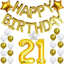 21st Birthday Decorations Party Kit with Happy Birthday Balloon Banner, Number 21 Balloon Mylar Foil, Gold White Latex Ballon, Perfect 21 Year Old Party Supplies Free Printable Bday Checklist