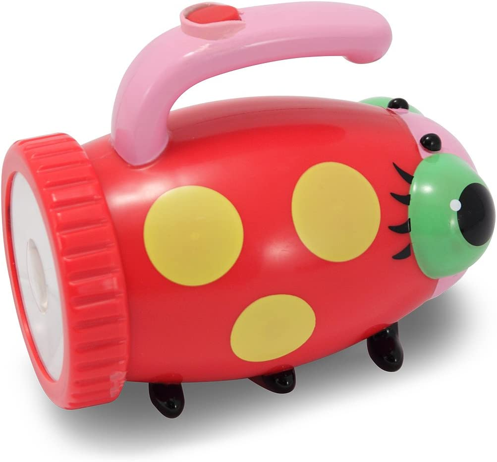 Image of a flashlight in ladybug design, colorful body with handle on top of it.
