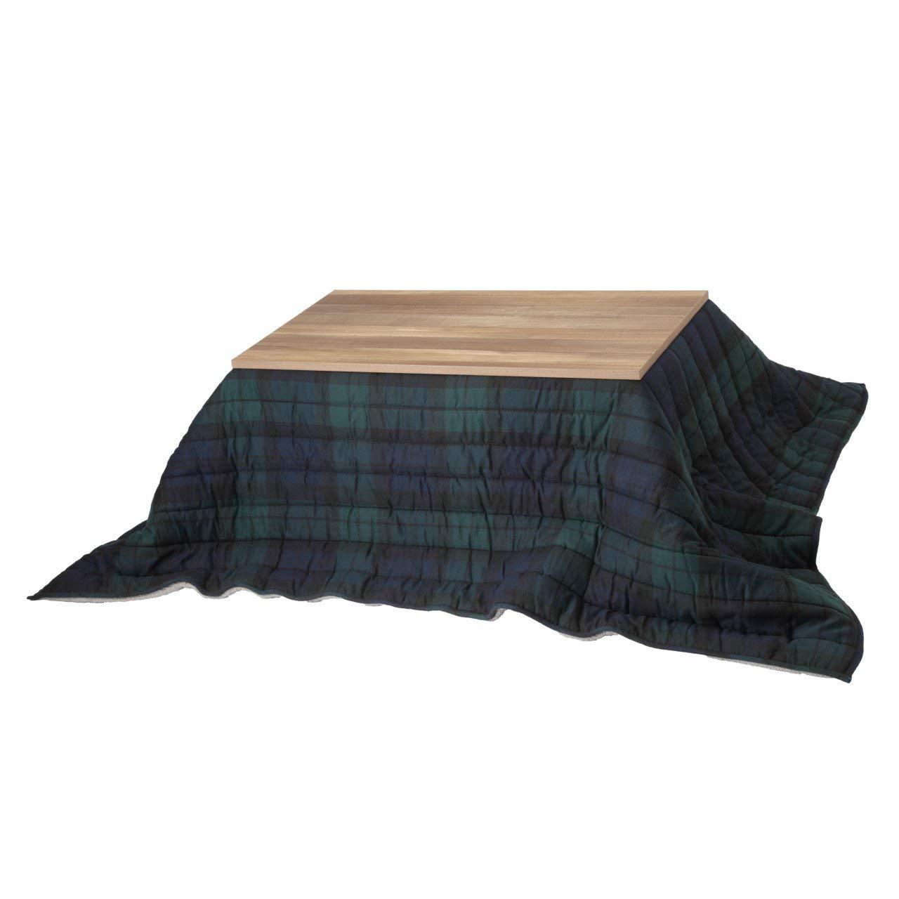 古材風天板×アイアン脚×保温綿入り布団 お洒落こたつセット 長方形 120x60 (グリーン) / ハイタイプこたつ 継ぎ脚  グリーン B07J2B3JH8