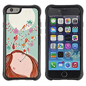 Fuerte Suave TPU GEL Caso Carcasa de Protección Funda para Apple Iphone 6 / Business Style Drawing Floral Girl Moon Teal