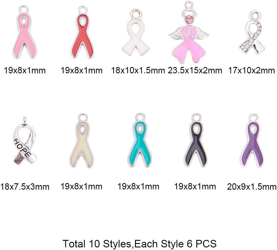PandaHall Elite 60 St/ück Legierung Emaille Anh/änger Cancer Awareness Ribbon Anh/änger f/ür Schmuckherstellung 10 Stile