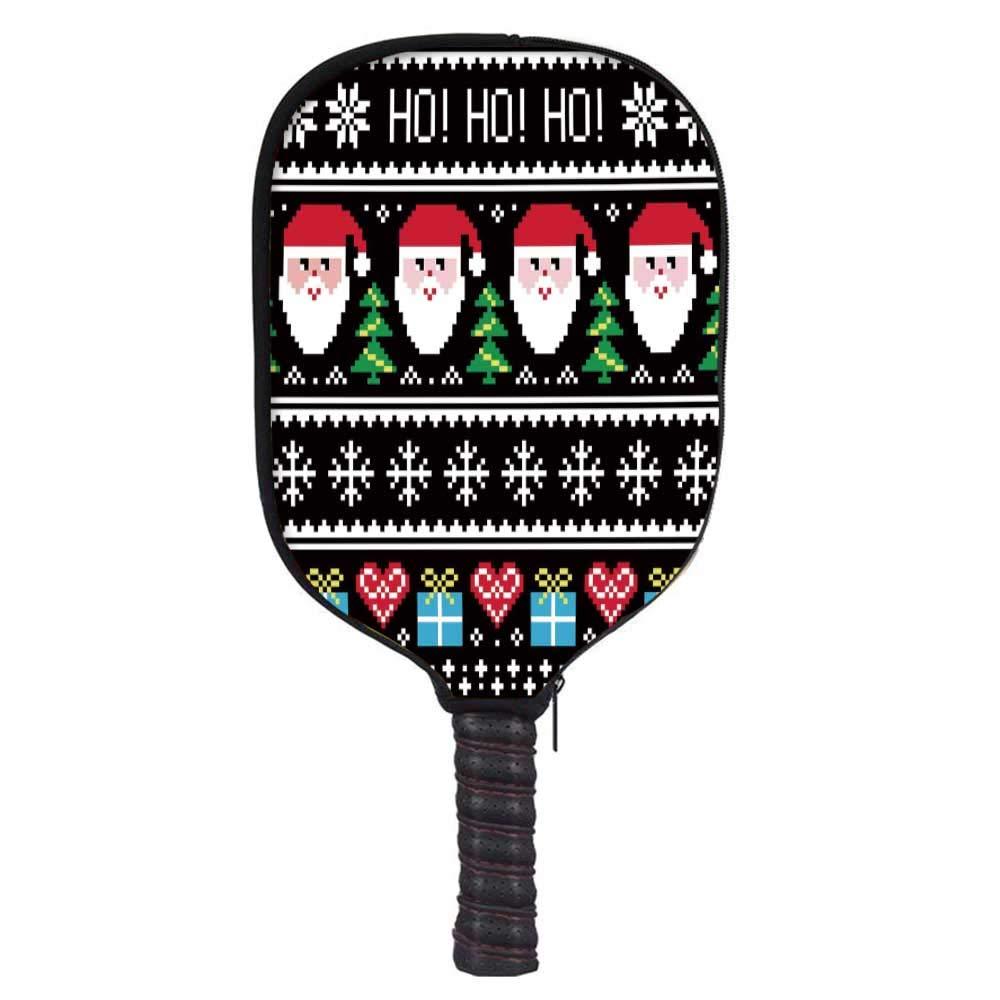 MOOCOM Christmas Fashion Racket Cover,Nordic Norwegian Traditional Retro Patterns Hearts Snowflakes Santa Trees Print Decorative for Playground,8.3'' W x 11.6'' H