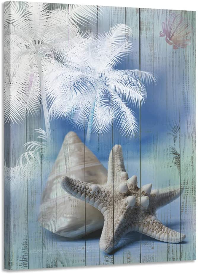 "Acocifi Canvas Wall Art Palm Tree Seashell Painting Modern Blue Tropical Starfish Picture Wood Grain Artwork Prints Framed Ready to Hang for Living Room Bathroom Home Office Bedroom Study Nursery Room Wall Decor, 12""x16"", One Panel"