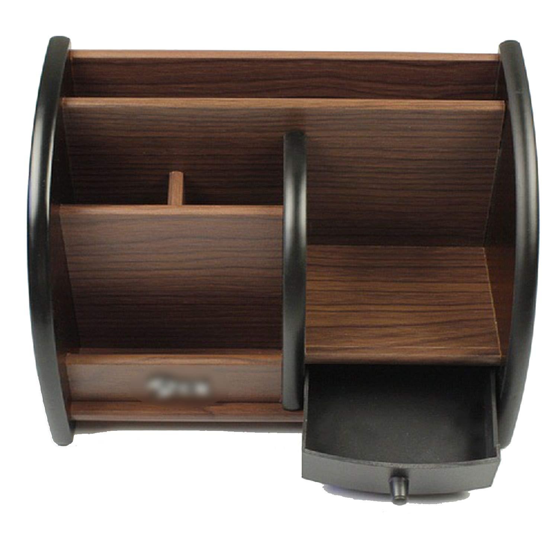 Collocation-Online Wooden storage box desktop organizer remote controller Office stationery pen holder makeup box,1