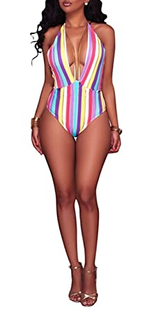 41507812ca Aro Lora Women's One Piece Colorful Stripe High Cut Backless Bikini Swimsuit  Small Multicolor