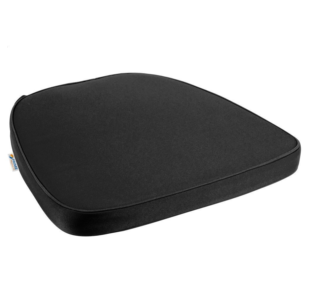 Prime Comfort Chair Pad | Seat Padded Cushion with a Polycore Thread Soft Fabric, Straps and Removable Zippered Cover (Black)
