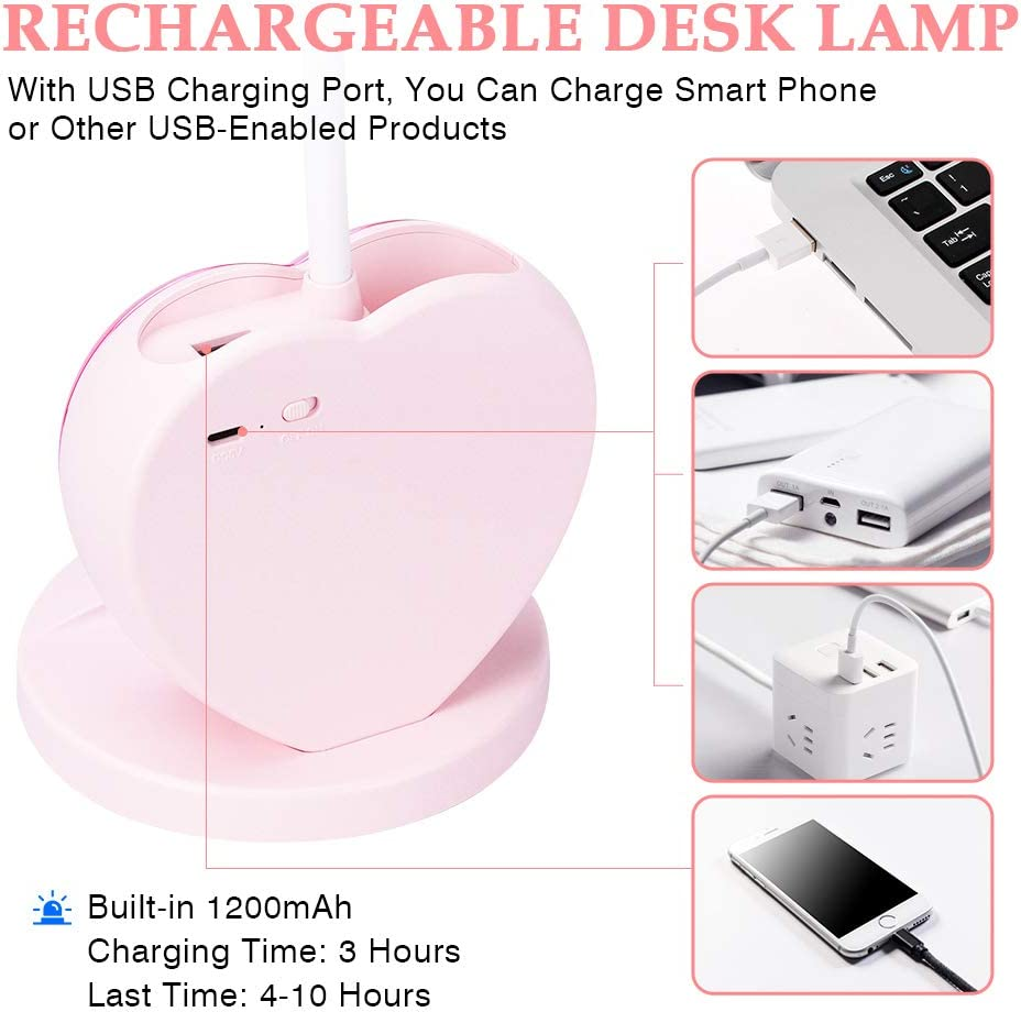 Rechargeable Desk Lamp with USB Charging Port Kids Teen ALUOCYI LED Desk Lamp for Girls Eye-Caring Dimmable Bedside Lamp with Phone Holder and Phone Stand Reading Light Pink for Study