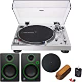 """Audio-Technica AT-LP120XUSB Direct-Drive Turntable Analog/USB, Silver + Audio Immersion Bundle w/Platter, Vinyl Record Cleaning System & Mackie 3"""" Creative Reference Multimedia Monitors (Pair)"""