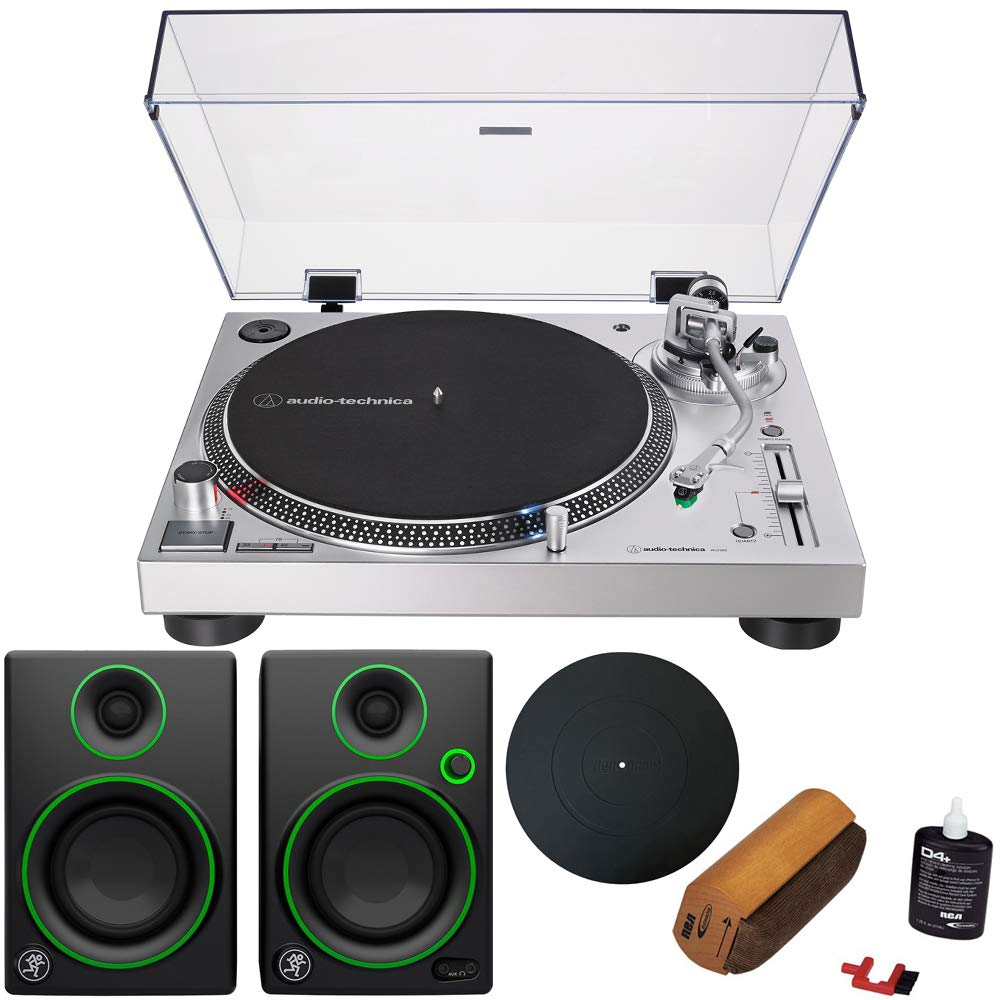 Audio-Technica AT-LP120XUSB Direct-Drive Turntable Analog/USB, Silver + Audio Immersion Bundle w/Platter, Vinyl Record Cleaning System & Mackie 3'' Creative Reference Multimedia Monitors (Pair)