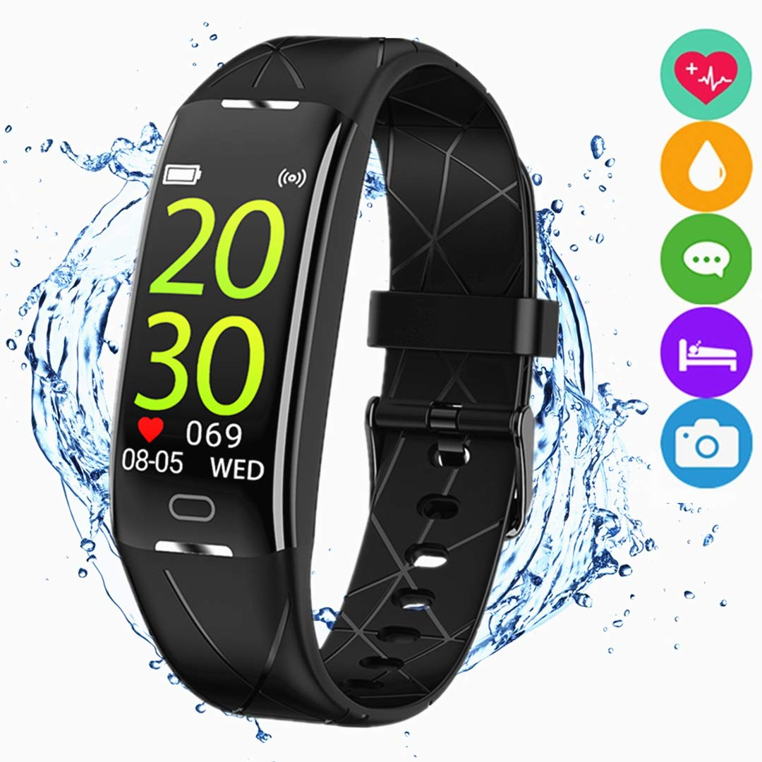 Fitness Tracker Watch Activity Smart Bracelet Wristband Pedometer Waterproof IP67 with Heart Rate Sleep Monitor Call SMS SNS Remind Color Screen Compatible with Android iPhone for Men Women Kids