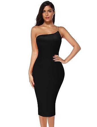 d4d14c0e63a Meilun Womens One Shoulder Bandage Bodycon Party Dress Club Strap Dress  (Black, XS)