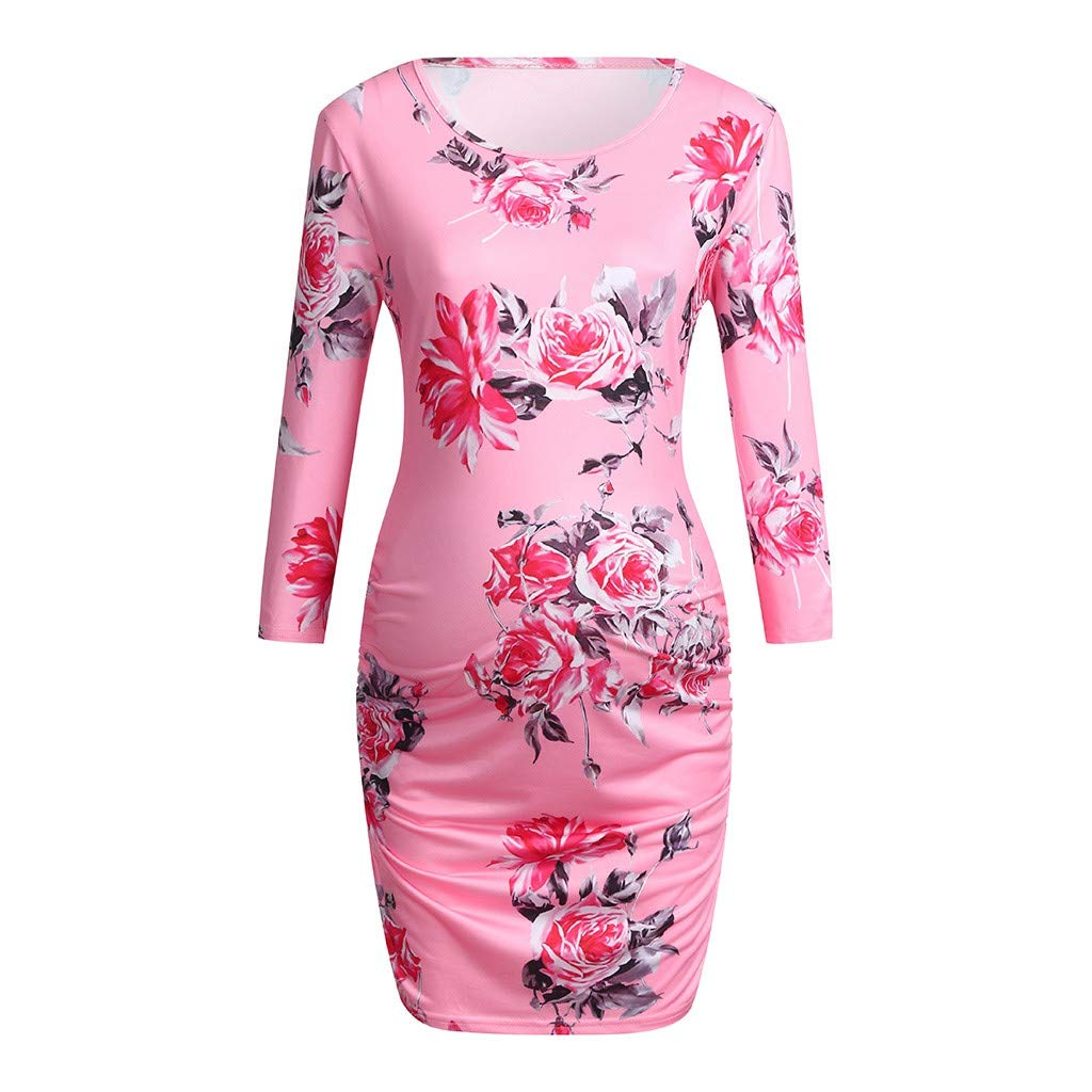 Maternity Evening Bodycon Women Floral Print Side Ruched Round Neck Long Sleeve Midi Dress (XXL, Pink)
