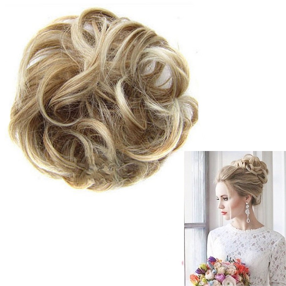 Refaxi Hot Women Curly-Wave-Hair Bun Clip Comb In Hair Extension Chignon Hairpiece Wig