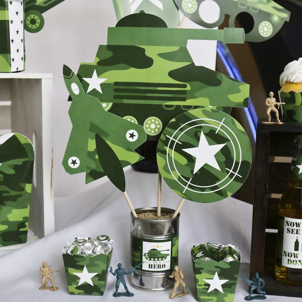 Set of 15 Table Toppers Army Military Camouflage Party Centerpiece Sticks Camo Hero