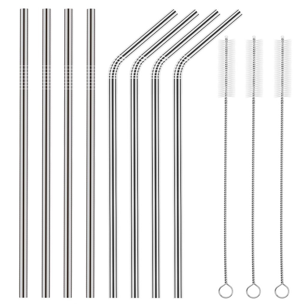 Ambox Set of 8 Stainless Steel Straws, FDA-Approved Extra Long 10.5'' Metal Drinking Straws for 30 oz and 20 oz Stainless Tumblers Ramblers Cold Beverage, Fit All Yeti Ozark Trail SIC & RTIC Tumblers