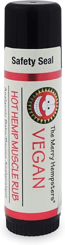 Merry Hempsters Hot Hemp Muscle Rub, 0.6 Ounce, Made in the USA, Vegan Certified