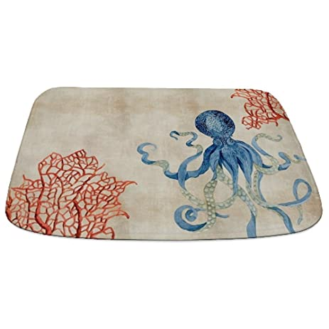 Delightful CafePress   Indigo Ocean Coral Octopus N Red Coral   Decorative Bathmat,  Memory Foam Bath Design Ideas