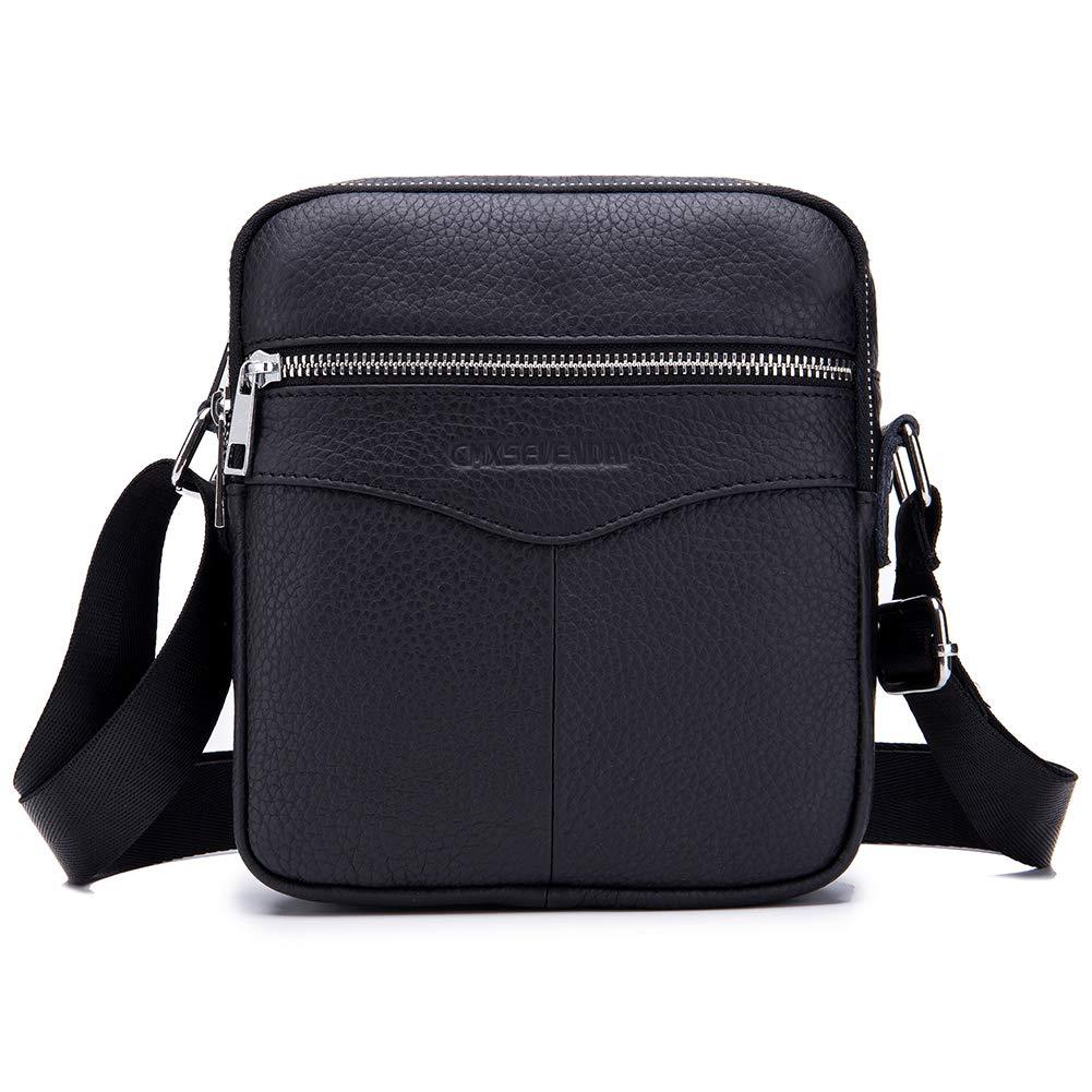 CMXSEVENDAY Small Mens Shoulder Bag, Leather Messenger Crossbody Purse, Vertical Style, 18x20cm (NOB023) - Black A461