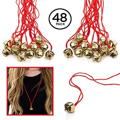 Funny Party Hats Jingle Bell Necklaces - 4 Dozen - Bulk (Jingle Bells On String)