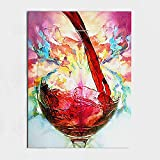 BERDECIA 100%Hand Painted Oil Painting Still Life Red Wine Abstract Wall art Home Decoration Home Decor Decorative For Living Room Wall Art Red Wine Glass (30''x47'', No Frame)