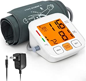 Blood Pressure Monitor with AC Adapter, 3.4 Inch Backlight LCD Display Blood Pressure Meter, HOMIEE Upper Arm Blood Pressure Machine 9-14 Inch Cuff, Digital BP Meter 2 Users 180 Memories Auto Off