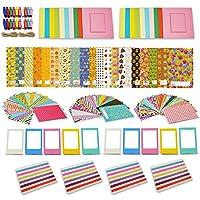Xtech Fujifilm Instax Mini 9/8 Accessories Kit includes EMOJI Sticker Frames, 120 Colorful Sticker Frames, Colorful Hanging Frames with Hanging Clips and string, Folding plastic frames, Corner frames