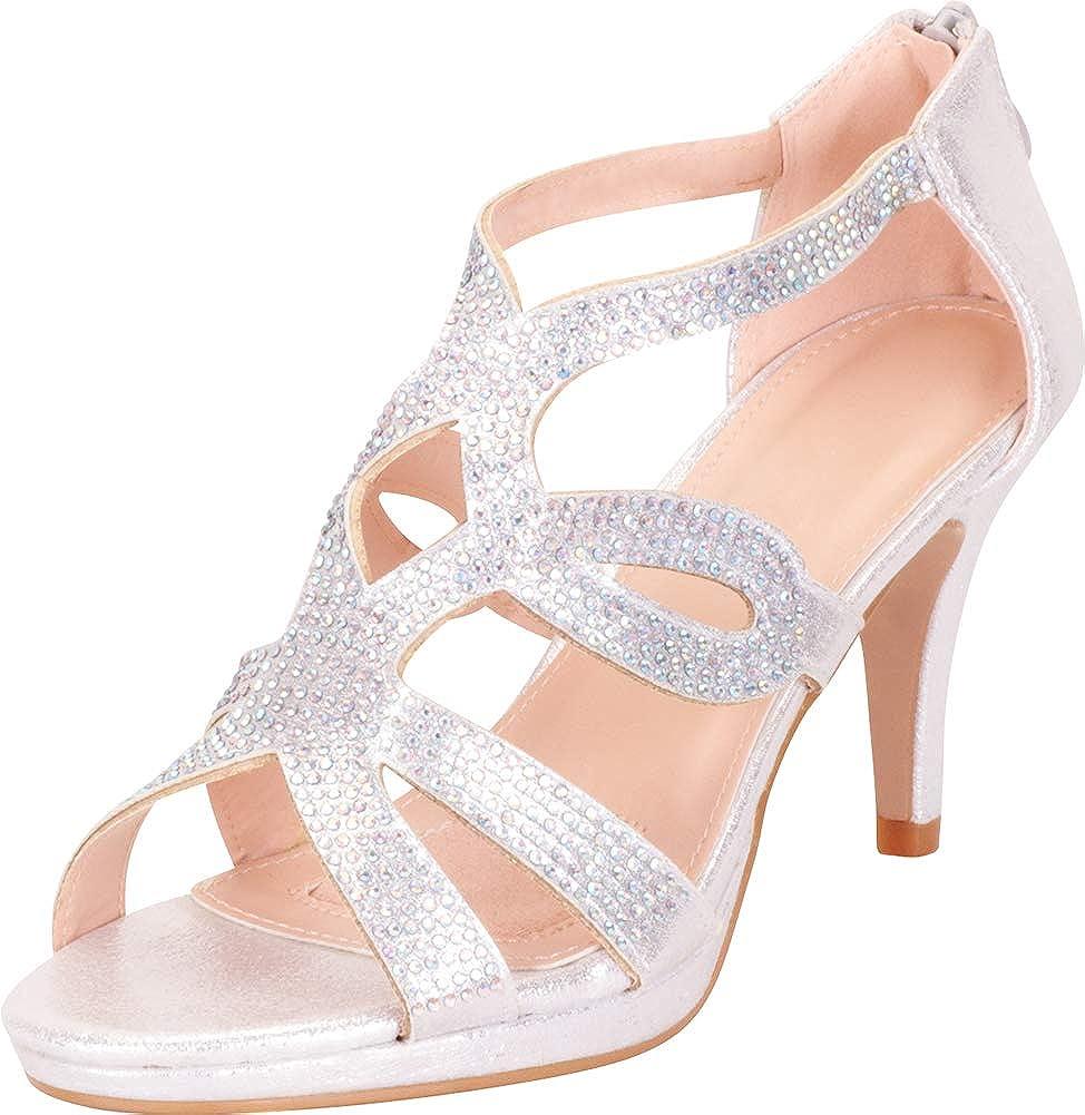Silver Glitter Cambridge Select Women's Cutout Crystal Rhinestone Platform Mid Heel Dress Sandal