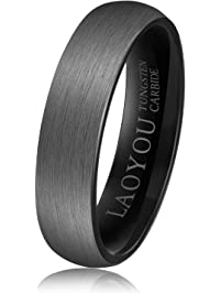 tungsten wedding ring for men women 6mm mens promise tungsten rings band black brushed comfort fit - Black Mens Wedding Ring