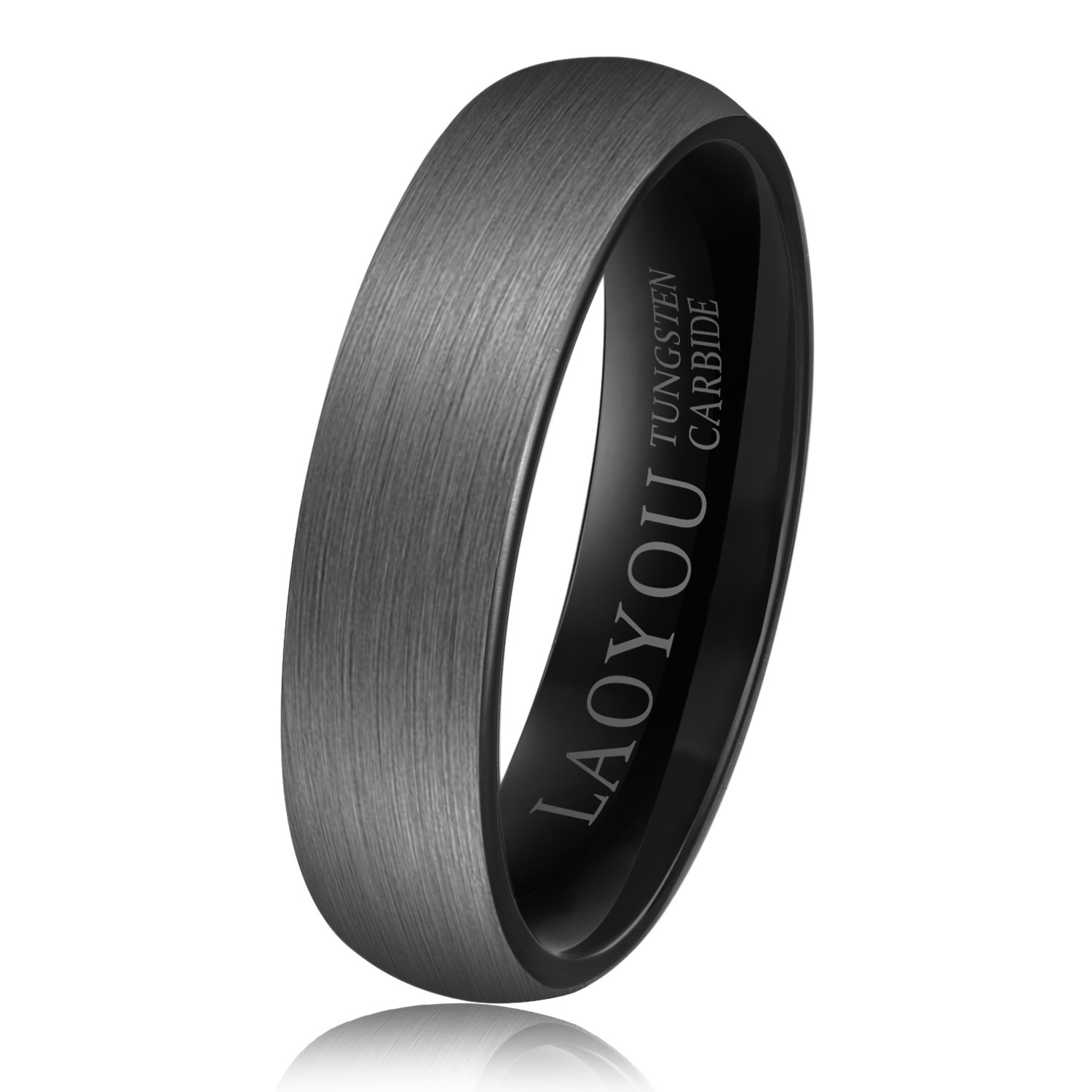 LAOYOU Tungsten Rings for Men Wedding Engagement Band Brushed Black 6mm Mens Ring Bands Comfort Fit Dome women carbide womens thin promise unisex him her male small pinky pinkie mom jewelry size 9.5