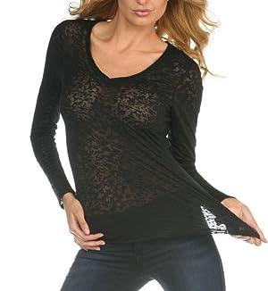 Womens Burnout Raw Edge V Neck Shirt-indigo-large