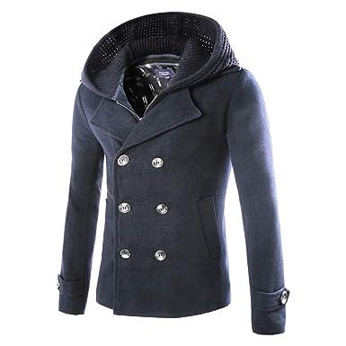 c94848a5e7e7a OSYARD Homme Hiver Manteau Trench-Coat Chaud Slim avec Capuche ...