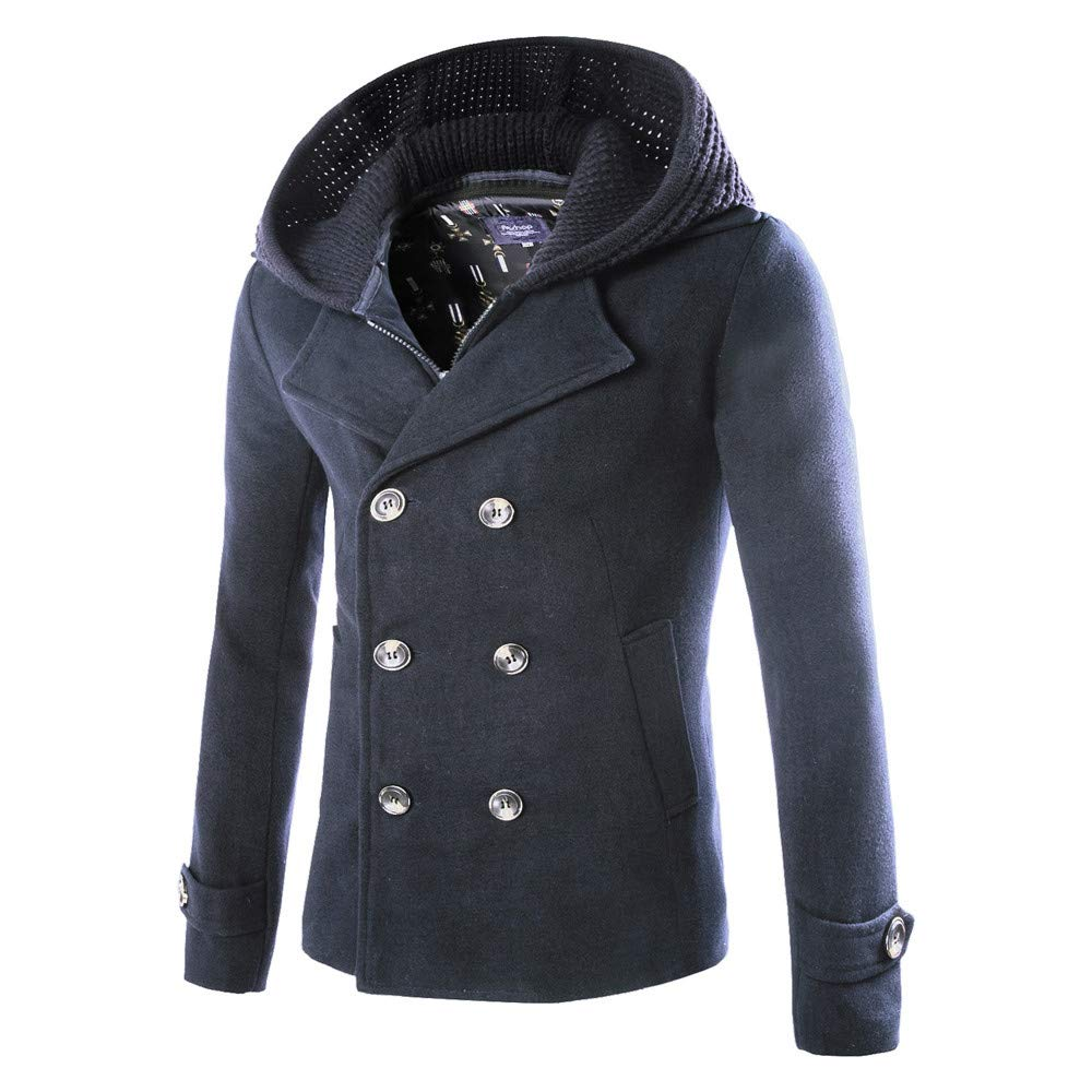 G-Real Men's Gentle Layered Collar Single Breasted Quilted Lined Wool Blend Pea Coats