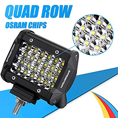 LED Pods, OFFROADTOWN 4inch 144W QUAD Row LED Light Bar OSRAM Work Light Spot Beam Off road Driving Fog lights Waterproof LED Cubes for Truck Jeep Boat: Automotive