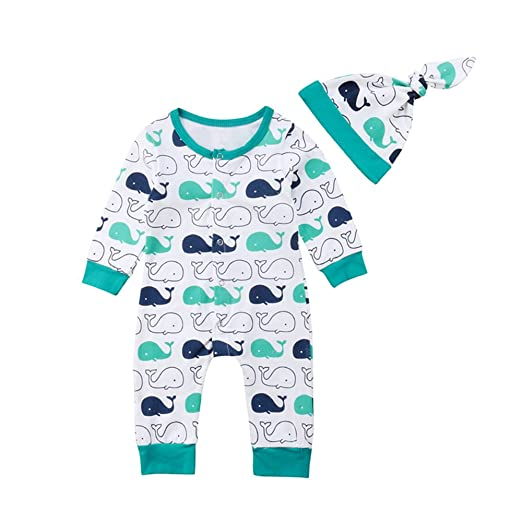 559c7a6b9d61 Infant Baby Boy Girl Whale Romper Jumpsuit Long Sleeve Pajamas with Hat  Outfits Clothes Set 0