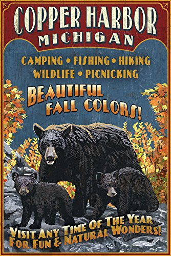 Copper Harbor, Michigan - Black Bears Vintage Sign Press Advertisement (9x12 Art Print, Wall Decor Travel Poster)