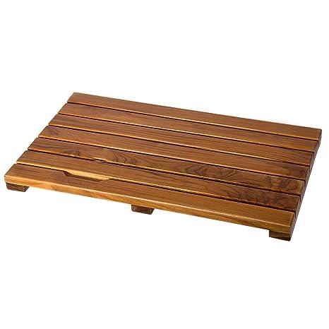 Ollieroo Luxury Spa Solid Teak Bath Mat Indoor Outdoor Shower Mat Large Floor Mat Size 23 6 X 15 7 X 1 4