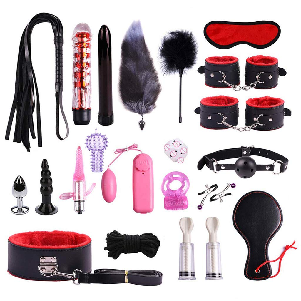 Guiseniour 22pc Leather Handcuffs Set Adult Bed Game Toys for Couples Getting Excited Kit Pleasure Toys for Men Women by guiseniour