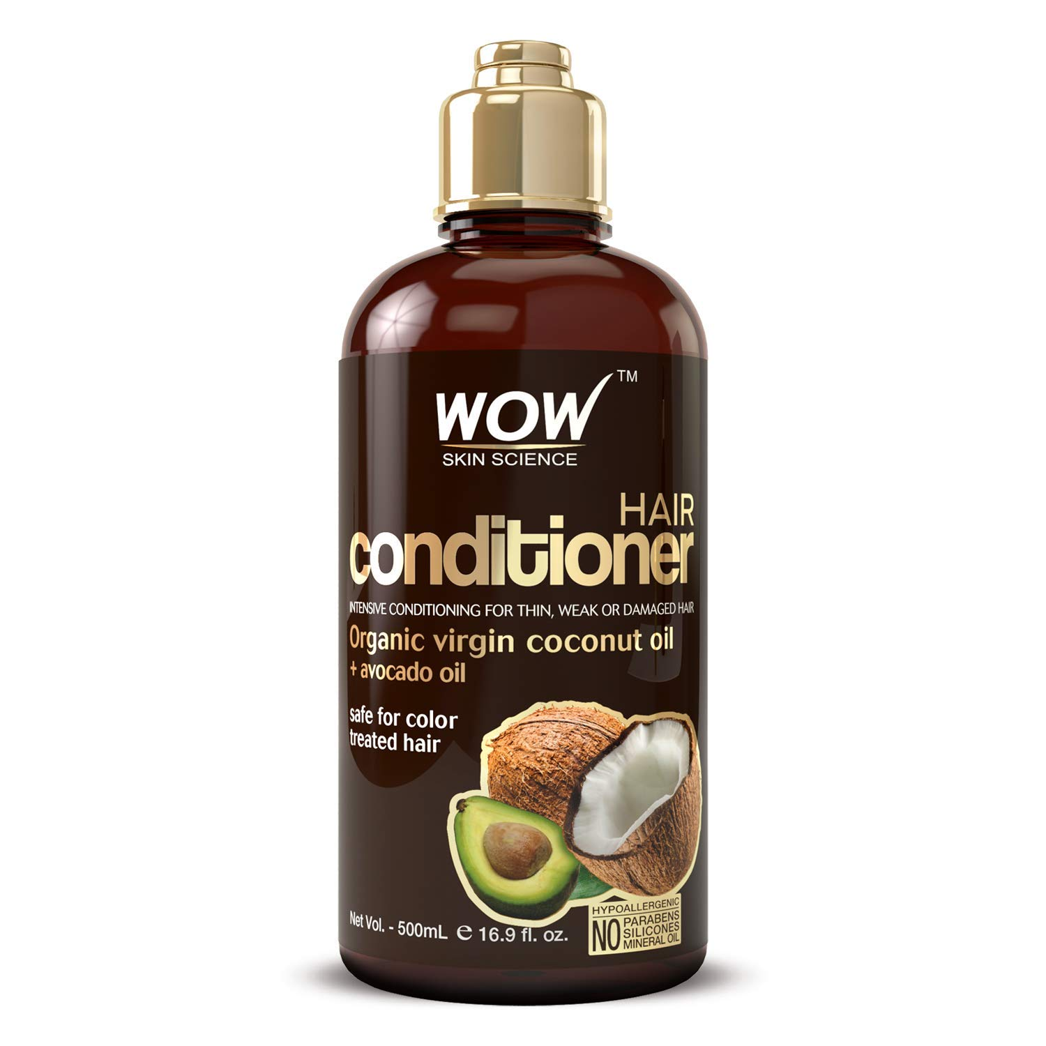 WOW Hair Conditioner - Coconut & Avocado Oil - Restore Dry, Damaged Hair - Increase Gloss - Reduce Split Ends, Frizz - Sulfate, Silicones, Paraben Free - All Hair Types, Adults & Children - 500 mL by BUYWOW