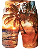 TUONROAD Bathing Suit Shorts 3D Printing Sunset Palm Coconut Tree Board Shorts Running Plus Size Swimming Trunks Drawstring Mens Swim Shorts