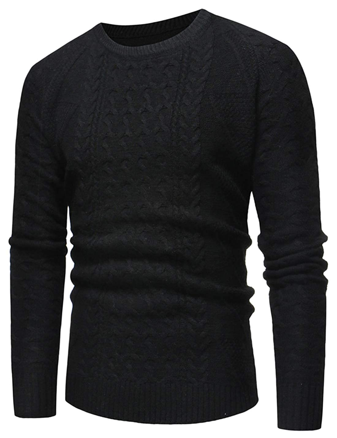 Lentta Mens Slim Fit O-Neck Solid Twisted Knitted Pullover Sweaters