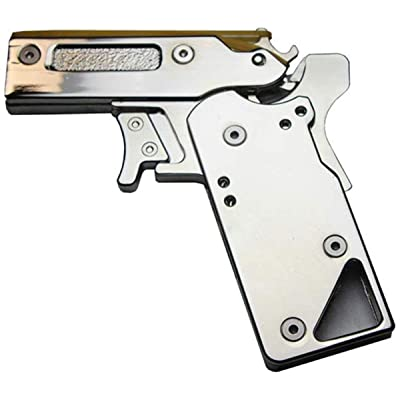 LIVIQILY Folding Rubber Band Gun Portable Semi-Automatic Toy Repeater Pistol: Toys & Games