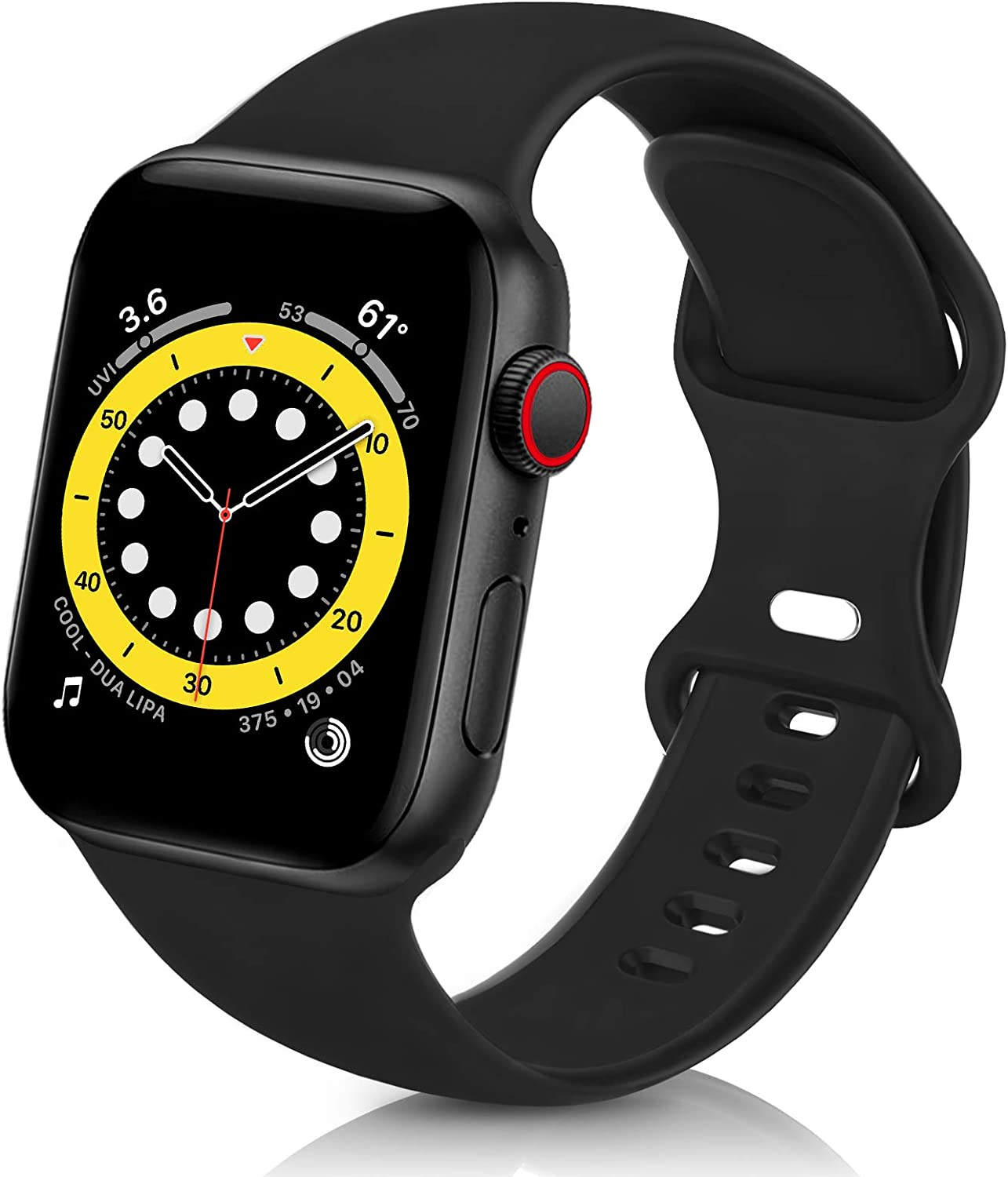ZALAVER Bands Compatible with Apple Watch Band 38mm 40mm, Soft Silicone Sport Replacement Band Compatible with iWatch Series 6 5 4 3 2 1 Women Men Black 38mm/40mm M/L