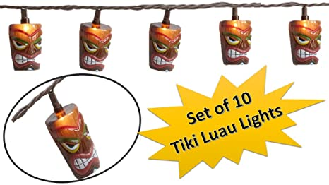 Amazon tiki head tiki lights luau party string lights tiki head tiki lights luau party string lights fun lights luau theme for aloadofball Image collections
