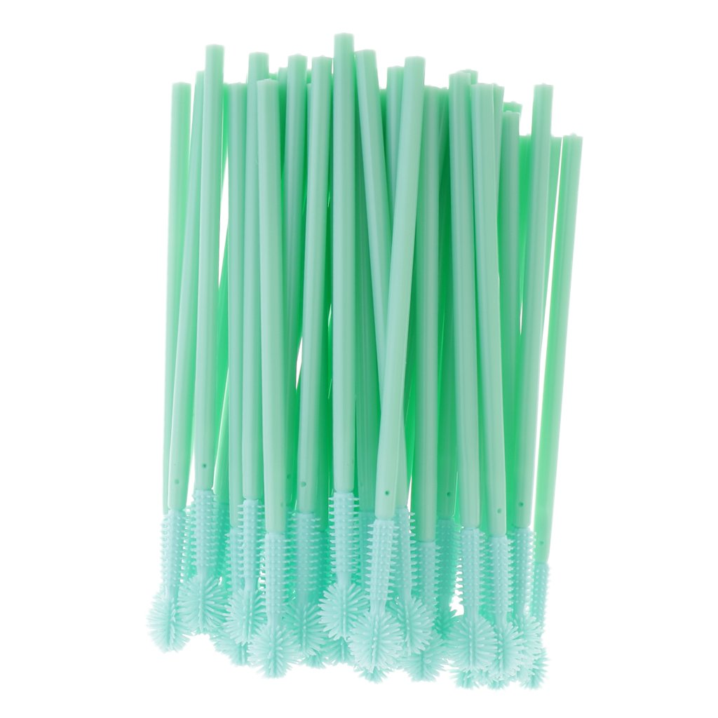 Baoblaze Eyelash Applicator Brush, Silicone Head, 50 PCS Reusable Eyelash Mascara Brushes Wands Applicator Eyebrow Brush, Eyelash Extension Supplies Green - Green, Ball-shape