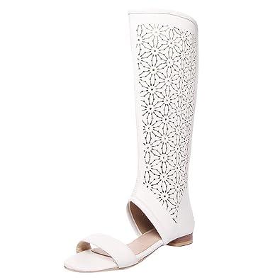 Mee Shoes Damen Flach Open Toe Reißverschluss Sommerstiefel  Amazon ... 923bb3e07d