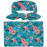 Newborn Baby Floral Blanket Swaddle Sleeping Bag Sleep Sack Headband (blue)