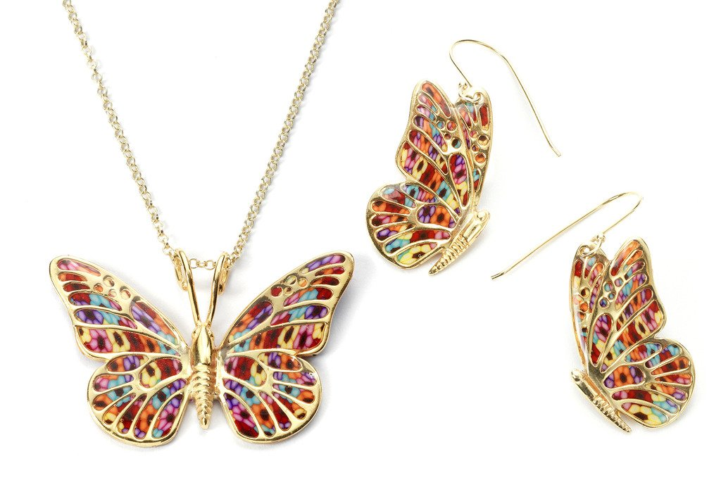 Gold Plated Sterling Silver Butterfly Necklace Pendant and Dangle Earrings Multi-Colored Polymer Clay Jewelry Set, 16.5'' Gold Filled Chain