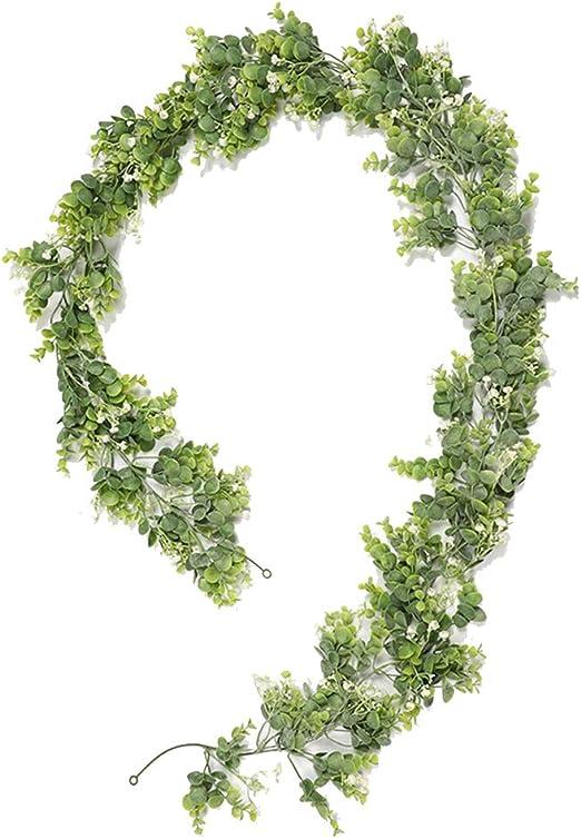 195CM Eucalipto Artificial Guirnalda Artificial Money Leaf Rattan Verde Plantas Decoración para Boda Jardín Valla Escalera Ventana: Amazon.es: Hogar